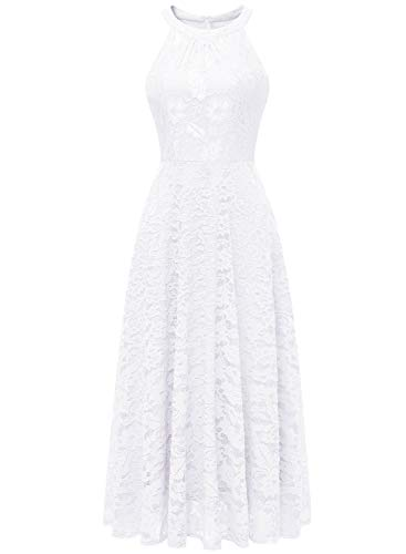 MUADRESS 6012 Elegant Women Evening Dress Floral Lace Long Halter Swing Cocktail Party Dress White X-Small ()