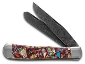 CASE XX Painted Pony Damascus Smooth Red End Of Day Conch Shell Trapper Pocket Knife Knives