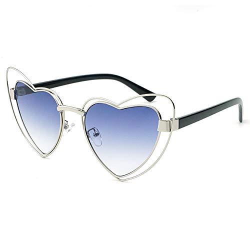 Love Heart Shaped Sunglasses Women Vintage Cat Eye Mod Style Retro Glasses (sliver frame gray lens, 53) -