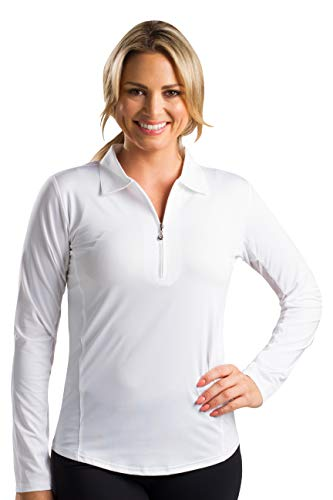 SanSoleil Women's Sunglow UV 50 Long Sleeve Solid Polo Top - White - Large