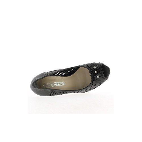 Escarpins femme ouverts ajourés noirs à talons de 11cm et plateau