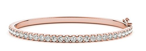 - 1/2 Carat Classic Stackable Diamond Bangle Bracelet 14K Rose Gold Value Collection