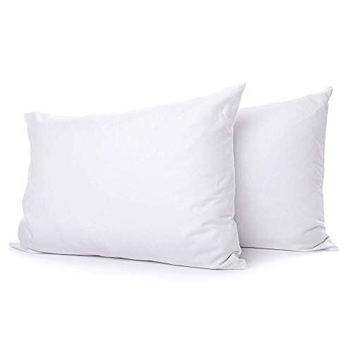 eLuxurySupply Extra Soft Down Filled Pillow for Stomach Sleepers w/Cotton Casing 2 Pack - Filled and Finished in the USA, Set of 2 Standard
