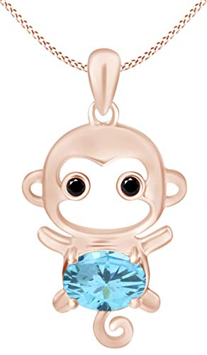 (Christmas Sale Simulated Aquamarine Cute Monkey Animal Cartoon Pendant Necklace in 14K Rose Gold Over Sterling Silver)