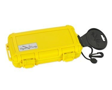 Cigar Caddy 5 Stick - CIGAR CADDY 5 STICK TRAVEL HUMIDOR SAFETY YELLOW W/RUBBER PROTECTIVE COATING