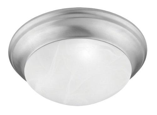 - Livex Lighting 7302-91 Coronado 1 Light Brushed Nickel Flush Mount with White Alabaster Glass