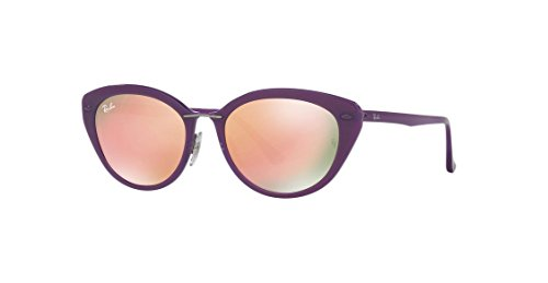 Ray-Ban INJECTED WOMAN SUNGLASS - SHINY VIOLET Frame BROWN MIRROR PINK Lenses 52mm Non-Polarized (Pink Brown Lenses Frame)