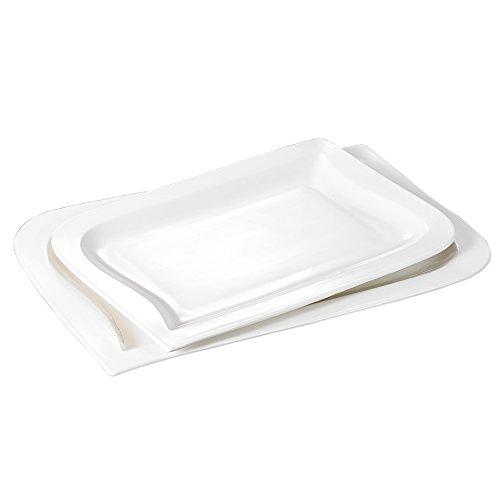 Malacasa, Series Joesfa, 2-Piece Ivory White Porcelain Serving Platters Tray of 11