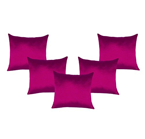 - Decorative Dark Pink Poly Taffeta Silk Pillow Home Decor Cushion Cover 5 Pcs Bed Sofa Case 18