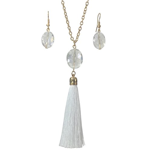 Long Glass Beaded Tassel Fringe Boutique Style Necklace & Earring Set (White Clear)