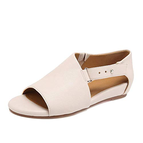 SNIDEL Flat Sandals for Women Open Toe Slip on Pu Shoes Summer Low Heels Strappy Sandal with Buckle New Beige 8 B (M) US