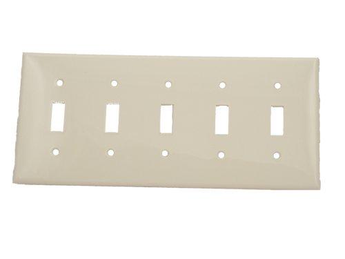 Leviton 80723-W 5-Gang Toggle Device Switch Wallplate, Standard Size, Thermoplastic Nylon, Device Mount, White (Wall Gang Switch 5)