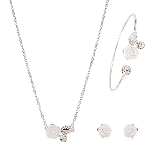 Akvode Womens Stainless Steel Jewelry Sets Fashion Cute Circle Necklaces Stud Earring Bracelets (Cheap Dance Costumes From China)