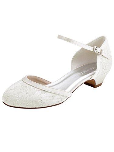 ElegantPark HC1620 Women Comfort Low Heel Ankle Strap Closed Toe Lace Bridal Wedding Shoes Ivory US 8 - Pumps Bejeweled