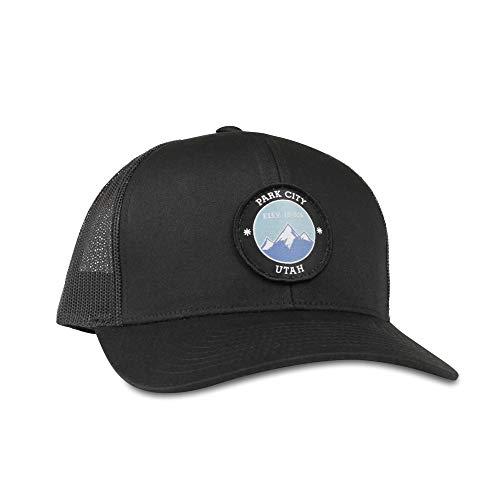 (Park City Hat - Trucker Mesh Snapback Baseball Cap - Black)