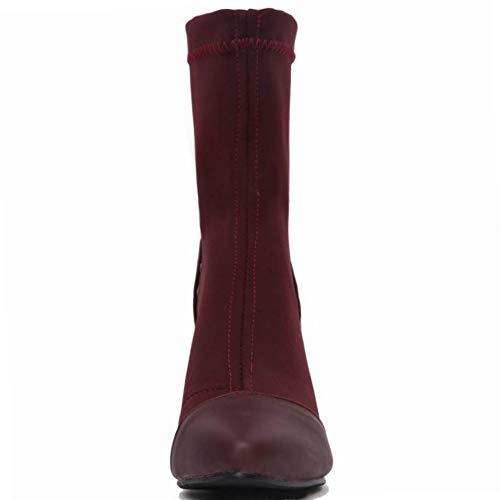 Chiusura Chiusura Chiusura Rosso Caviglia Caviglia Caviglia Casual Senza Stivali Vino CularAcci Donna qnfw0ExEX