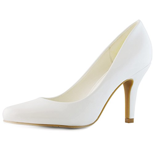 - DailyShoes Women's Classic Fashion Round Toe Lily-01 High Heel Dress Pump Shoes, White PT, 9 B(M) US