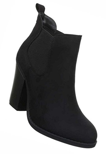 Damen Ankle Boots Schuhe Stiefeletten In Used Optik Schwarz Grau 35 36 37 38 39 40 Schwarz
