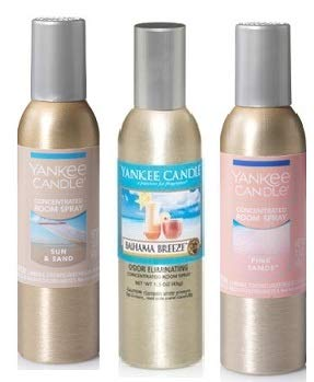 (Yankee Candle 3 Pack Summer Favorites Fragrances. Bahama Breeze, Pink Sands and Sun & Sand Concentrated Room Spray 1.5 Oz.)