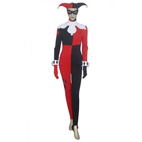 Cuterole Women's Clown Costume Batman Arkham Asylum Harley Quinn Cosplay (Harley Quinn Batman Arkham Asylum Costume)