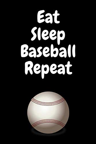 """Eat Sleep Baseball Repeat: Composition Diary Notebook Novelty gift for Baseball lover,6""""x9"""" lined blank 100 pages,white papers,Black cover"""