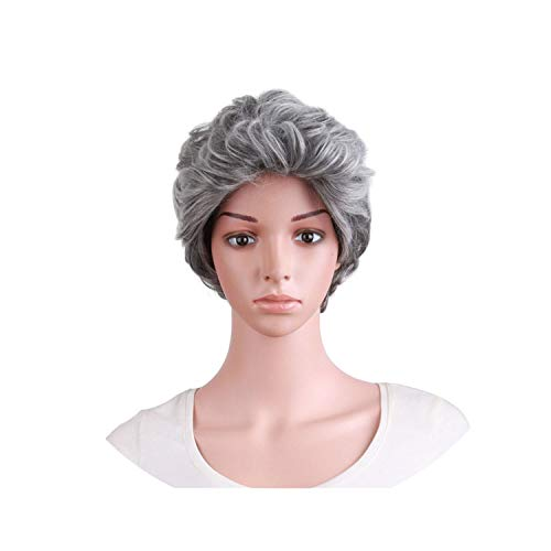 world-palm Short Curly Black Dark Light Brown Grey Wigs Women Natural Men Synthetic Heat Resistant Hairpiece Fake Hair Peruca,#1B,12inches,China -