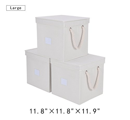 7 gal.Storage Cube Box With Lid, Foldable Basket Organizer Bin With Strong Cotton Rope Handle By StorageWorks , White, Large(11.8x11.8x11.9 inches), 3-Pack