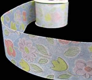 10 Yards Spring Doodle Flower Flowers Silver Lined Sheer Wired Ribbon 2 1/2