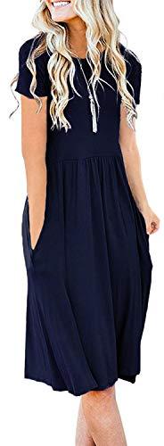 Naggoo Women's Casual Short Sleeve Flared Dress Empire Waist Tunic Dress Pocket Navy Blue M