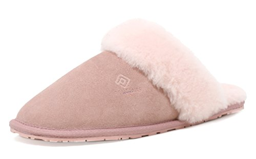 DREAM PAIRS Women's BLIZ Pink Sheepskin Slip On House Slippers Indoor & Outdoor Winter Shoes Size 9.5-10 M US