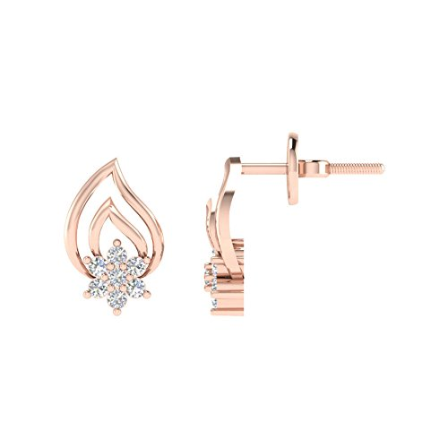 Velvetcase 10k Rose Gold and Diamond Stud Earrings