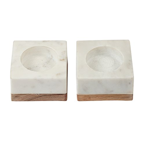 Artisanal Creations Set of 2 Marble and Wood Tea Light or Pillar Candle Holders, LBH 4/4/3 inches, Elegant Heavy Solid