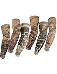 SHINA 6 Pcs Set Arts Fake Temporary Tattoo Slip On Tattoo Arm Sleeves Kit M Skull Ghost Devil - Pirate Ghosts