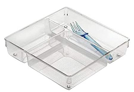 iDesign Linus Schubladenorganizer durchsichtig gro/ßer Schubladeneinsatz aus Kunststoff f/ür Besteck und andere Utensilien