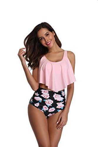 KABETY Women Two Pieces Bathing Suits Ruffled Racerback High Waisted Bikini Set (S/US2-4, Pink Flower)
