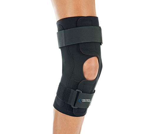 United Ortho Wraparound Hinged Knee Brace, Extra Large, Black