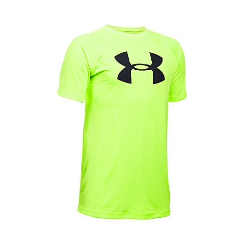 Under Armour Boys' Tech Big Logo Short Sleeve T-Shirt, Fuel Green/Black, Youth X-Large
