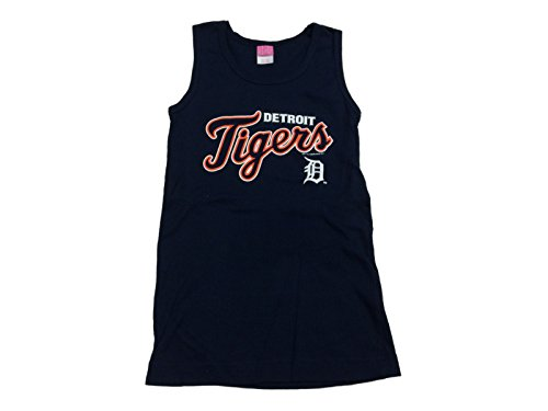 Detroit Tigers SAAG YOUTH Girl's Navy White & Orange Racerback Tank Top (M)