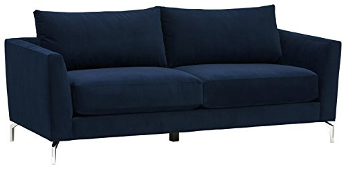 Cheap Rivet Emerly Modern Velvet Metal Leg Sofa, 84″W, Navy