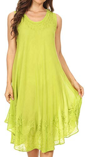 Sakkas 1051 Everyday Essentials Caftan Dress/Cover Up - Lime - One Size