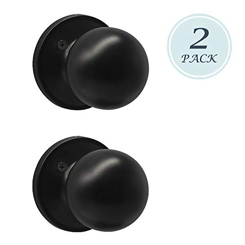 (Classic Antique Style Door Knob, Individual Dummy Door Knob Round Shape, Matte Black Finish, 2 Pack, Easy Installation)