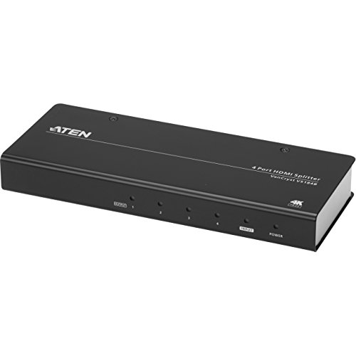 Aten Technologies - VS184B - Aten 4-Port True 4K HDMI Splitter - 4096 x 2160 - 49.21 ft Maximum Operating Distance - HDMI In - HDMI Out - Metal by ATEN