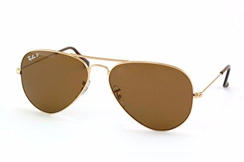 NEW POLARIZED RAY-BAN AVIATOR SUNGLASSES GOLD w/CRYSTAL BROWN RB3025 001/57 - Gold Polarized Ban Ray Brown Rb3025 Aviator Sunglasses