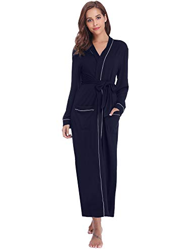 Aibrou Women's Cotton Knit Long Kimono Robe Spa Bathrobe Soft Sleepwear Navy ()