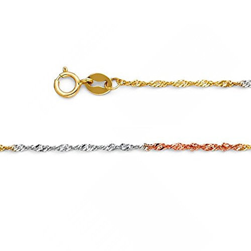 American Set Co. 14k Solid Tri-Color Gold 1.2mm Singapore Chain Necklace with Spring Ring Clasp - 22