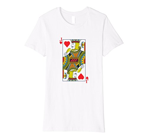 Womens JACK OF HEARTS Playing Card Halloween Group Costume T Shirt Large White (Jack White Halloween Costume)