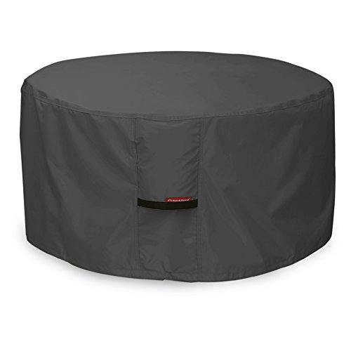 Porch Shield 100% Waterproof 600D Heavy Duty Patio Round Fire Pit/Table Cover (50 inch, Round - Black)
