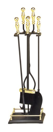 4 Piece Black and Brass Fireplace Tool Set