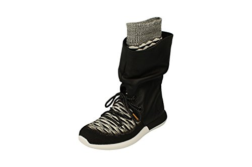 Nike Femmes Rose Roshe Deux Salut Flyknit Formateurs 861708 Sneakers Bottes Noir Blanc 002