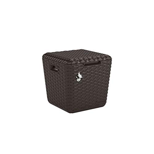 Suncast Cube Cooler - Lightweight, Resin Outdoor Patio Cooler with 60 qt. Capacity - Wicker Backyard Decor for Storing Beverages, Bottles and Cans - Bottle Opener and Drainage Tube - Brown by Suncast